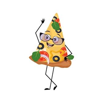 Leuk pizzakarakter met bril en vrolijke emoties, lachgezicht, blije ogen, armen en benen