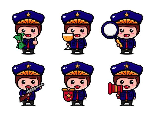 Leuk poliice character design met thematische beveiliging