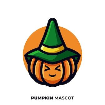 Leuk pompoenmascotte-logo met hoed om halloween-dag te vieren