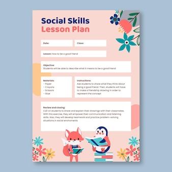 Leuk pre-k lesplan voor sociale vaardigheden met bloemen