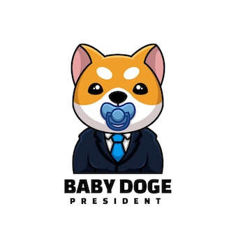 Leuk president baby doge crypto cartoon creatief logo