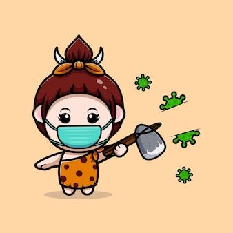 Leuk primitief cavegirl-virus met stenen bijlpictogramillustratie Premium Vector