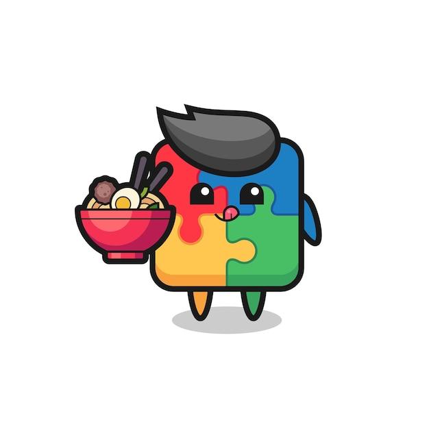 Leuk puzzelkarakter dat noedels eet, schattig stijlontwerp voor t-shirt, sticker, logo-element