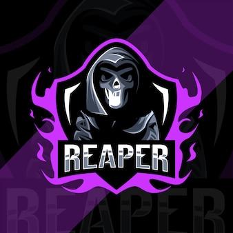 Leuk reaper mascotte logo esport ontwerp