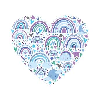Leuk regenboogpatroon in blauwe kleur. regenbogen harten