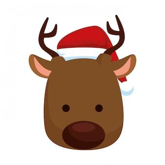 Leuk rendier hoofd kerst karakter