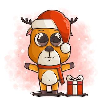 Leuk rendierkarakter dat kerstmisillustratie viert
