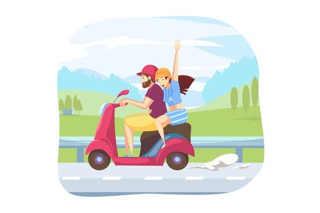 Leuk, rijden, reizen concept over de weg