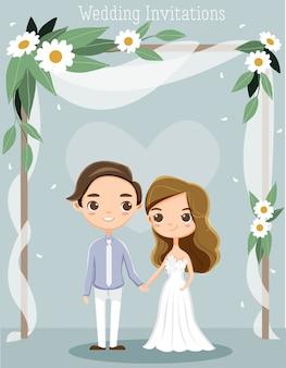 Leuk romantipaar voor de kaart van huwelijksuitnodigingen