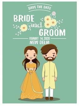Leuk romantisch indisch paar voor de kaart van huwelijksuitnodigingen