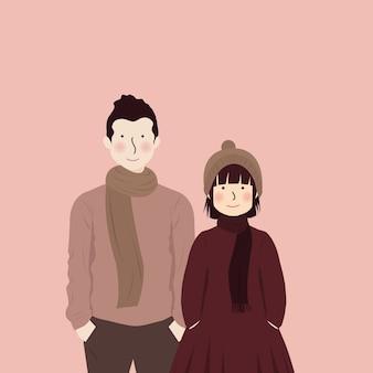 Leuk romantisch paar dat herfst winterkleren draagt die dicht bij elkaar staan