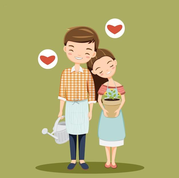 Leuk romantisch paar die bloem planten