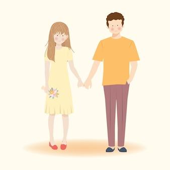 Leuk romantisch paar in hand in hand illustratie