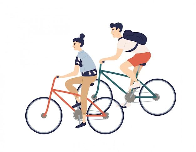 Leuk romantisch paar paardrijden fietsen. jonge man en vrouw op fietsen geïsoleerde illustratie