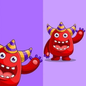Leuk rood monsterkarakter met drie hoorns die, met verschillende positie van de vertoningshoek golven, getrokken hand