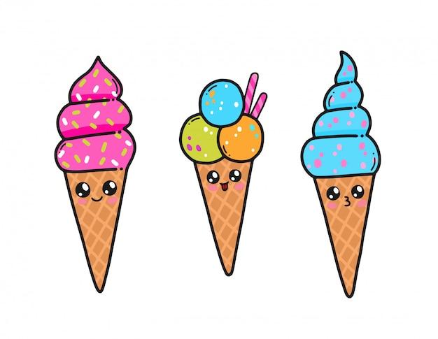 Leuk roomijs dat in de kawaiistijl van japan wordt geplaatst. gelukkig ijs stripfiguren met grappige gezichten geïsoleerd