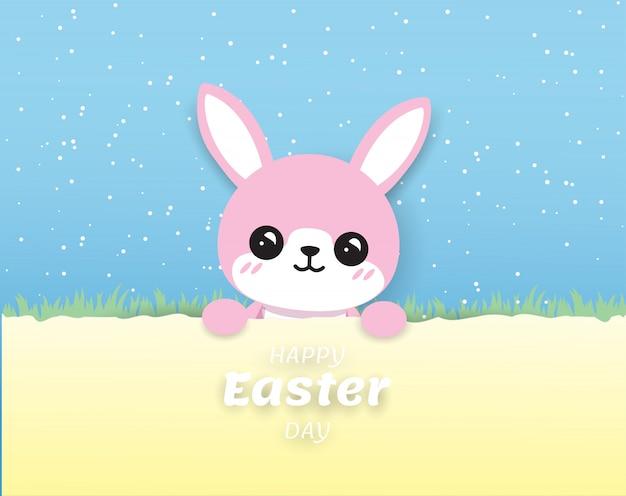 Leuk roze konijn vrolijk pasen op blauwe achtergrond, digitalcraft, papier knippen