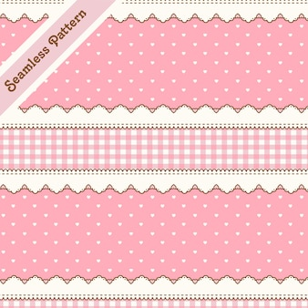 Leuk roze naadloos patroon met hartjes en kant premium vector
