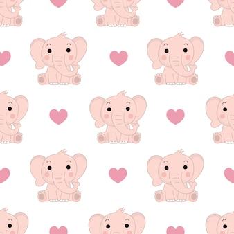 Leuk roze olifant en harten naadloos patroon. Premium Vector