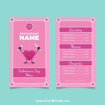 Leuk roze valentijnskaartmenuontwerp