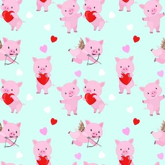Leuk roze varken met het rode naadloze patroon van de hartvorm.