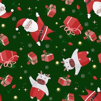 Leuk santa claus naadloos patroon. kleurrijke kerst achtergrond.
