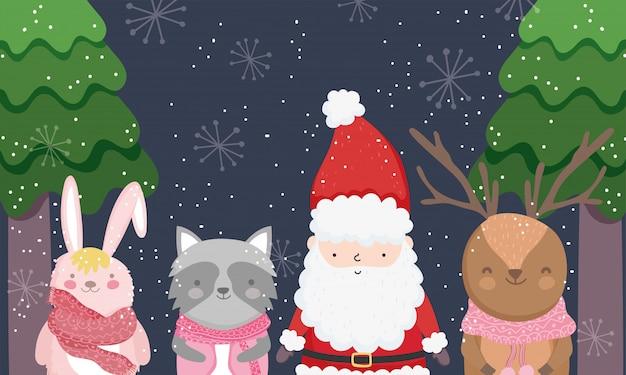 Leuk santa, rendier, wasbeer en konijntje in de winterbos