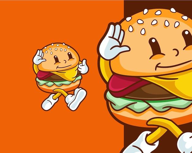 Leuk schattig wandelend klein hamburgerkarakter