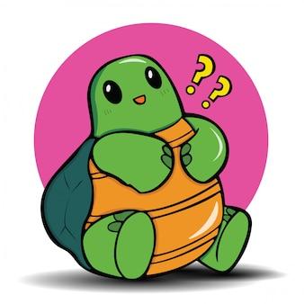 Leuk schildpadbeeldverhaal., leuk dierlijk concept.