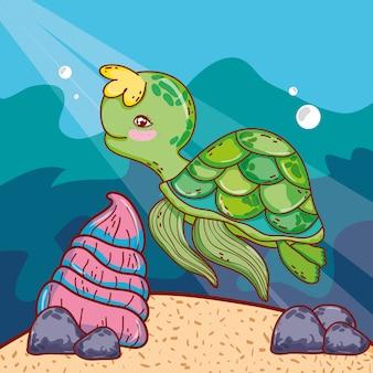Leuk schildpaddier met shell in het overzees