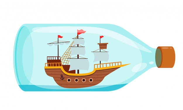 Leuk schip in de fles replica decoratie