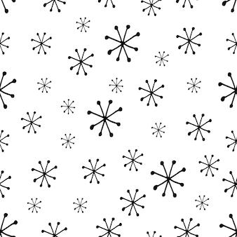 Leuk sneeuwvlokkenpatroon in moderne skandinavische stijl in vector absctract noords geometrisch ontwerp