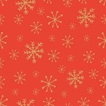 Leuk sneeuwvlokkenpatroon in moderne stijl in vector rode achtergrond met gouden sneeuwvlokken