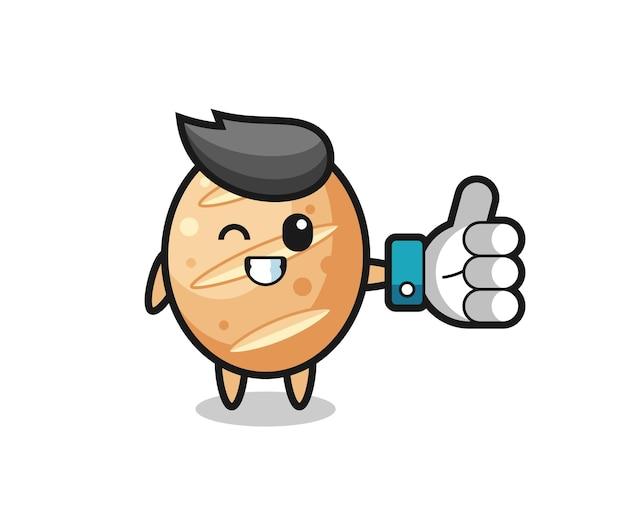 Leuk stokbrood met social media thumbs up symbool, schattig design