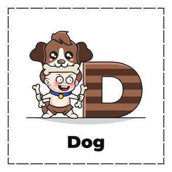 Leuk stripfiguur van beginletter d met baby die hondenkostuum draagt