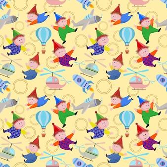 Leuk stuk speelgoed naadloos patroon op gele achtergrond.