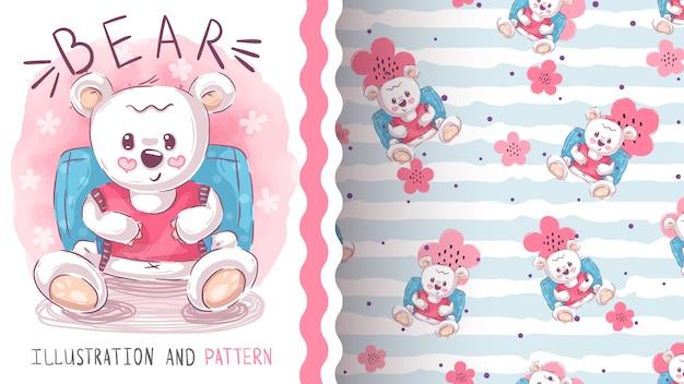 Leuk teddybeer naadloos patroon