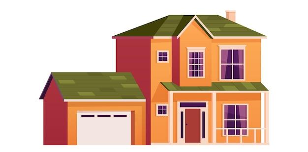 Leuk tekenfilmhuis. twee verdiepingen tellende woning met garage. herenhuis gebouw. huis gevel met deur en ramen. vectorillustratie in vlakke stijl