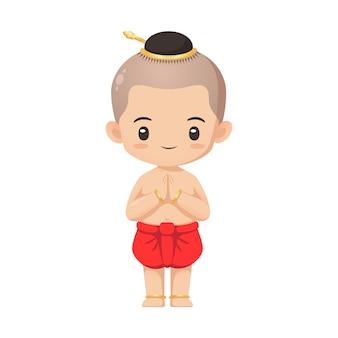 Leuk thais jongenskarakter in traditioneel kostuum wat betreft actiegebruik voor illustratie