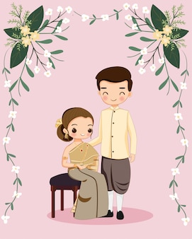 Leuk thais paar voor de kaart van de huwelijksuitnodiging