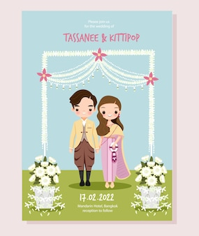Leuk thais paar voor sparen de datum, de kaartsjabloon van de huwelijksuitnodiging