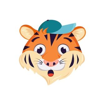 Leuk tijgerkarakter, gezicht met verraste, geschokte emoties.