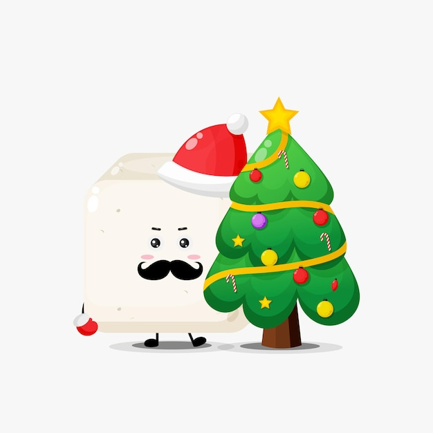 Leuk tofu-karakter en kerstboom
