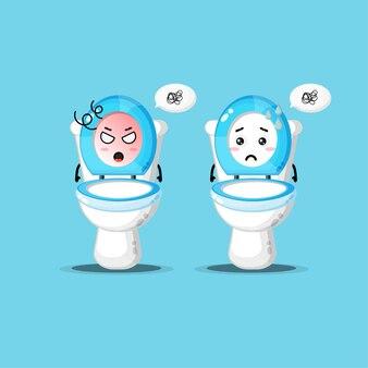 Leuk toiletpotkarakter met boze en droevige uitdrukking