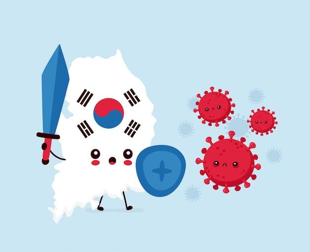 Leuk triest zuid-korea gevecht met coronavirus-infectie. vlakke stijl cartoon karakter illustratie