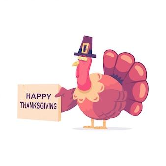 Leuk turkije in de pelgrimshoed met een teken van gelukkige dankzegging. vector stripfiguur van een grappige vogel geïsoleerd