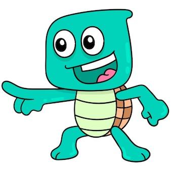 Leuk uitziende schildpad die plezier heeft, vectorillustratieart. doodle pictogram afbeelding kawaii.