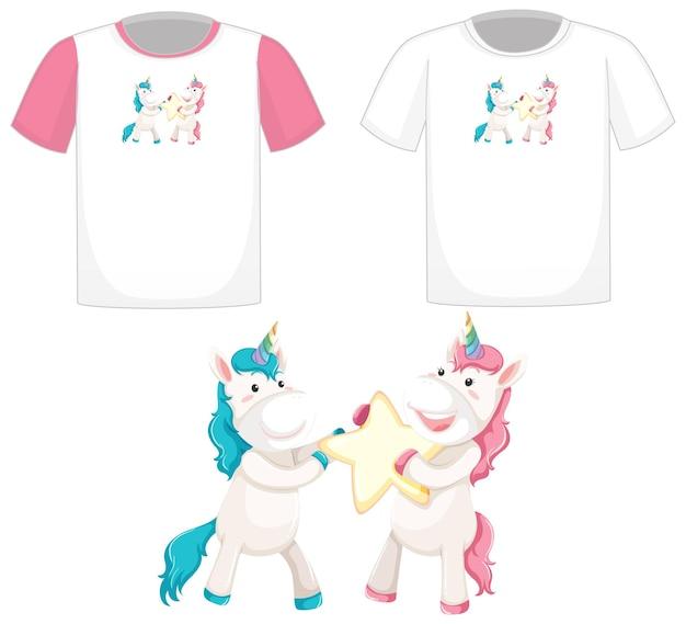 Leuk unicorn-logo op verschillende witte shirts geïsoleerd op een witte achtergrond