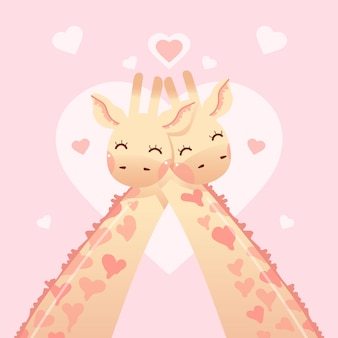 Leuk valentijnsdag dierlijk paar met giraffen