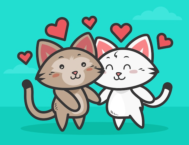 Leuk valentijnsdag kattenpaar